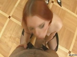 This redhead slut really knows how to give a blowjob!