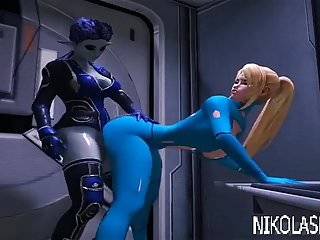 hot busty blonde vs alien shemale (3D)