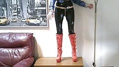 My PVC Bitch Dances in Her Red Platforms