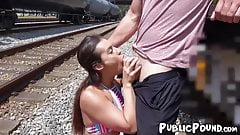 Natural Kelsi Monroe fucking after trainyard blowjob
