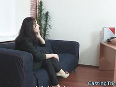 Casting babe rides cock in highheels