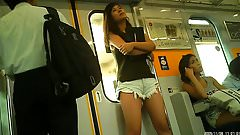 candid short shorts in the train