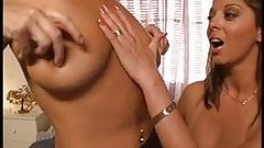 Two hot babes with sexy boobs titty fuck two dicks in bed