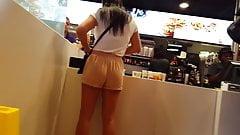 Candid voyeur latina in mcdonalds gorgeous body