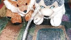 piss on fox and husky plush