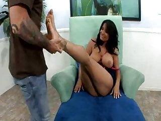 Very hot footjob and fuck by big boobed latina
