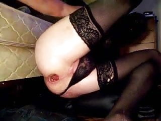 stretching my gaping ass wider with 2 huge black dildos