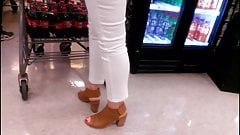 High heels and white jeans