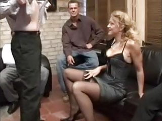 Curly German Milf Gangbang