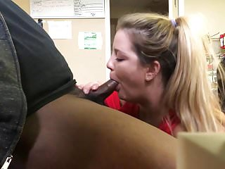 girls stops by and sucks black cock at work