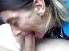 Blowjob by a skank mature