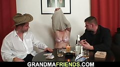Redhead granny in stockings double fucked