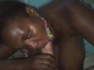 Black Slut from Kenya with huge Saggy Boobs sucks