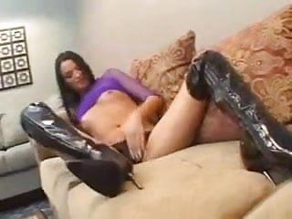 Brandy in her thigh-high black fuck boots gets a creampie.
