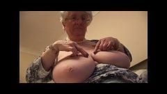 Massive tits granny masturbates with her toy