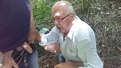 Tom sucking cocks in the woods