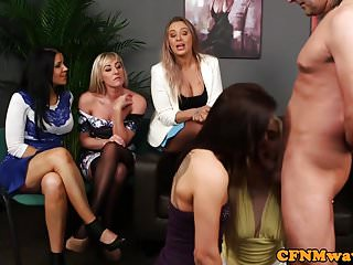 British cfnm babes demand subs cock in group