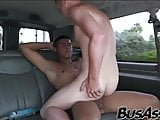 Straight guy taps man booty with pleasure in the van