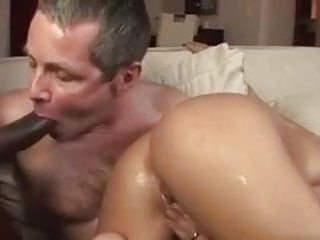 Cuckold cleans black cum off wifes hot ass