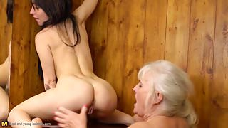 Lesbian ass and pussy licking from hairy granny