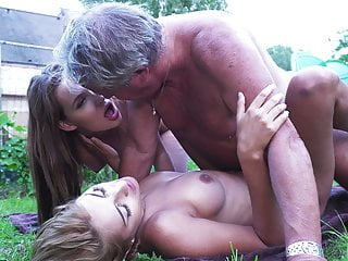 Hardcore Old And Young Action With Two Teens Fucking Grandpa