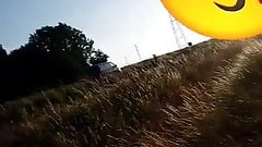 Me flashing  masturbating on side off the road and cumming