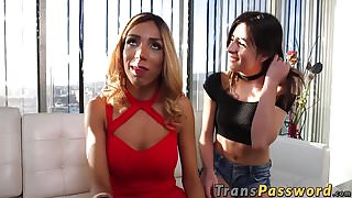 Hot big tits and ass brunette shemale fucked by deliver guy