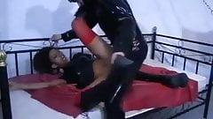 Ebony slave girl pleases her master