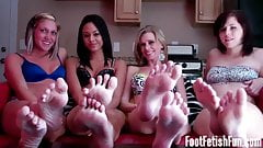You have all six of our sexy feet to jerk off to