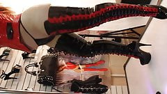 Pleaser-Delight PVC Outfit PVC Thigh High Platform Boots.
