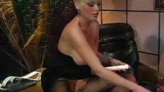 Sexy female boss Gail masturbates on office table