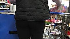 MILF in thin grey leggings