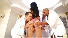 Gorgeous Latin shemale suck and fuck four big cocks