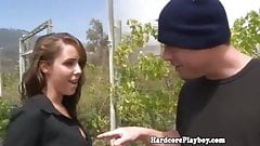 Teen babe fucked by con closeup outdoors