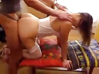 french wife in white lingerie enjoys a stranger