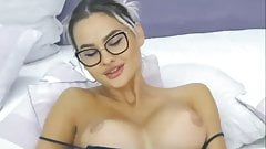 Cute girl showing her shaved pussy and masturbate
