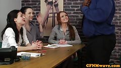 Casting CFNM female agent tugging black cock