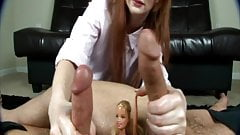 2 cocks complete for doll during frottage handjob