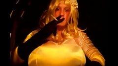 Blonde Satin Maid Smoking Max 120s Sensual Satin Gloves