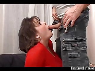 Short haired busty milf has her pussy pounded in bed
