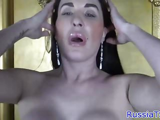 Curvy russian ts stroking her hard cock