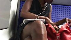 In train hot black girl