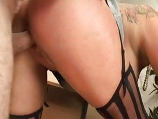 British tattoed slut gets fucked in the office