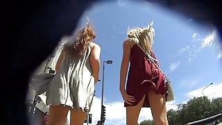 2 hot girls in loose dress both without panties