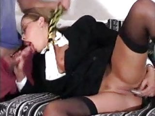 Mature slut dressed as a school girl fucked