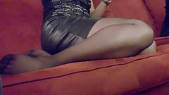 Candid Black Pantyhose Feet & Legs at Xmas Party