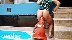 Fucking Her Latin Ass With a Giant Road Cone