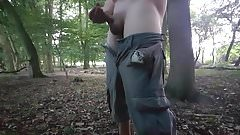 Public forest jack off