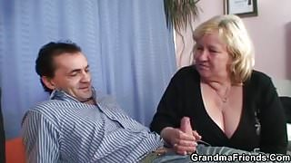 Huge grandma swallows two dicks