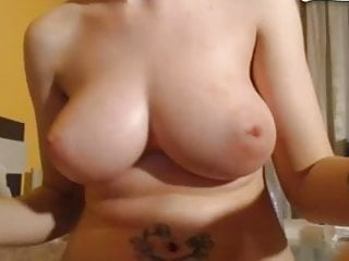Sexy chick with big natural boobs has quick ride on a dildo
